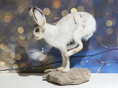 Snow Hare - Needle Felted Animal Sculpture, One of a Kind
