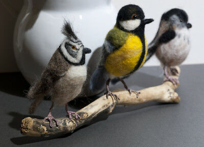 Birds - Needle Felted Animals, One of a Kind, Crested, Great, Long Tailed Tit