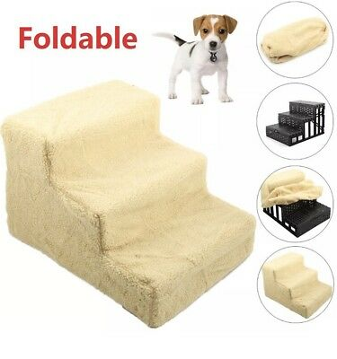Steps Portable Puppy Ladder Doggy Pet Soft Stairs Ramp Washable Foldable UK NEW