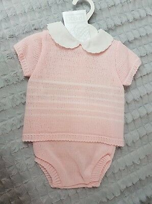 Baby Girls Spanish Romany Style Pink Cotton Cable Knit Satin Bow Set