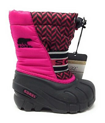 Sorel Youth Cub Cold Weather Boot Waterproof Black And Pink Size 6 Toddler
