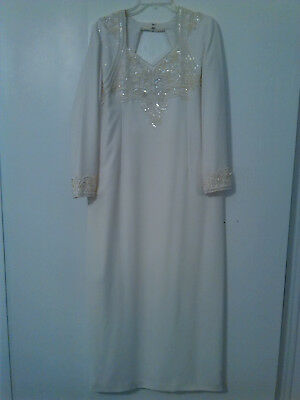 JOVANI cream sequin pearl gown size 20 fits 18 mother of the bride/weeding dress