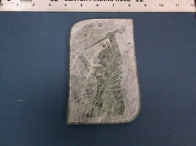 """Kepoken Native Art Carved Stone, """"lacrosse"""" Six Nations Ontario -Signed *used*"""