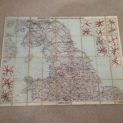 L.R.Roberts &Co two sheet road map of England & Wales