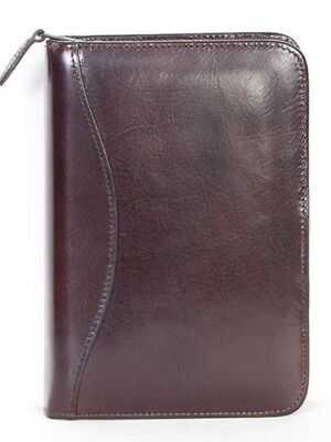Scully Italian Leather 3 Ring Zippered Monthly & Weekly Planner Agenda Mahogany
