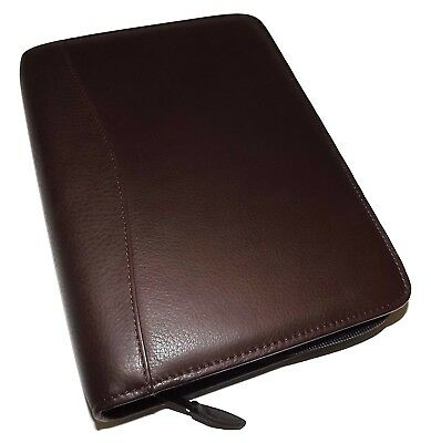 Scully Nappa Leather 3 Ring Zippered Monthly & Weekly Planner Agenda Chocolate