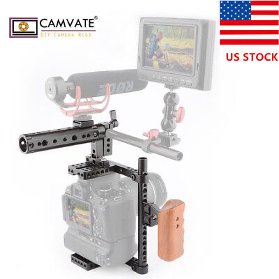 US CAMVATE Universal Camera Cage Wood Handle Grip for DSLR with Battery Grip GH5