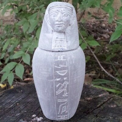 Large Antique Egyptian Basalt Stone Canopic Jar~Ancient Egypt God Imsety Revival