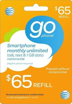 $65.00 AT&T Prepaid GoPhone Monthly Refill Card (Fast Digital Delivery) 65 Att