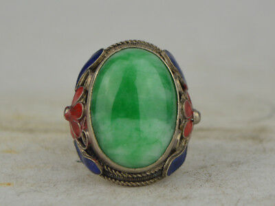 Collectible OLD Tibet Silver&Jade&Cloisonne Handmade Ring
