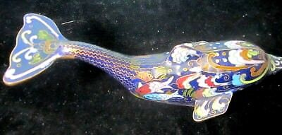"Cloisonne Dolphin Figurine 7"" long Cobalt Blue w Small Fish in Decorations"