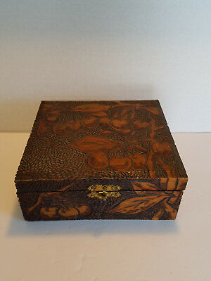 Vintage Flemish Art Pyrography Wooden Box 688 New York Cherry Design with Catch