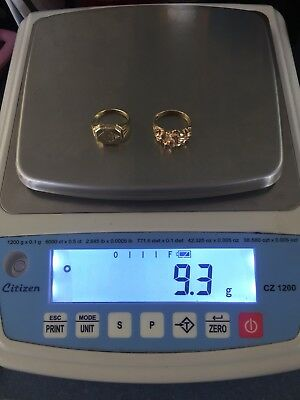 10k Gold Rings Solid .417 Scrap Or Wear Tested/stamped 9.3 Grams
