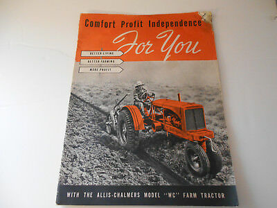 Vintage Antique Allis Chalmers Model WC Farm Tractor Brochure from the 1930's