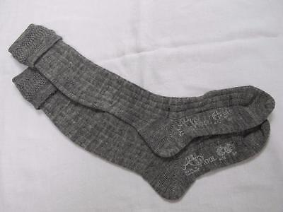 VINTAGE 1940's WW2 ERA CC41 UTILITY MARK GREY BOY'S SCHOOL EVACUEE SOCKS - 7½""