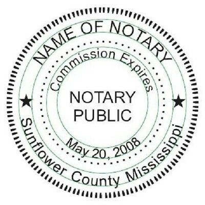 State of Mississippi  | Custom Round Self-Inking Notary Public Stamp Ideal 400R