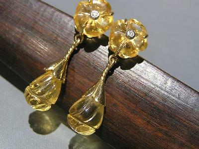 Vintage Victorian Revival 14kt solid Gold Carved Citrine Diamond Dangle Earrings