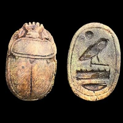 Rare Ancient Egyptian Authentic Carved Scarab Bead Seal 300 B.c. (1)