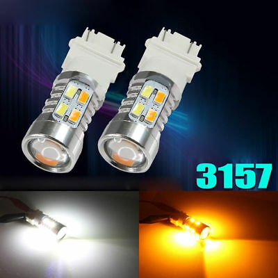 2x 3157 White Amber Dual Color Switchback LED Turn Signal Light Bulbs+Resistor