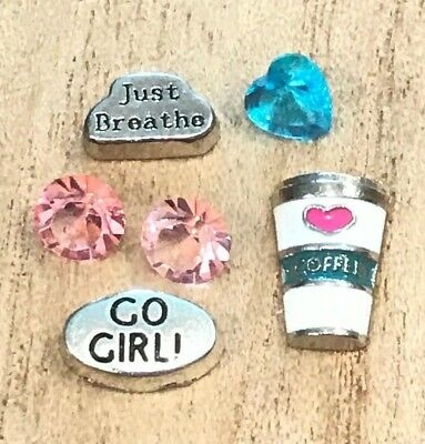 6pcs Go Girl Just Breathe Coffee Heart Floating Charms for Floating Lockets NEW!