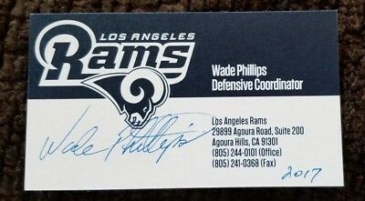 Autographed Wade Phillips business card     LOS ANGELES RAMS