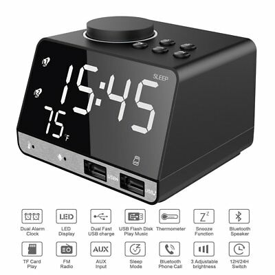 K11 Digital Alarm Clock with Wireless Bluetooth Speaker USB Charger FM Radio