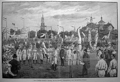 Hamburg , 9. deutsches Turner - Fest , Hürdenspringen - Stich v.1898