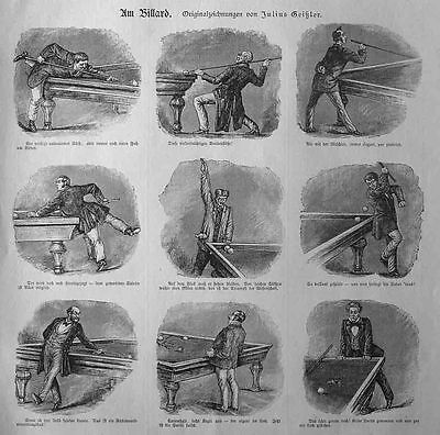 Billard , Am Billard - Stich v.1885