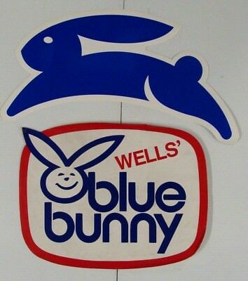 2 Blue Bunny Ice Cream Truck Stickers NEW