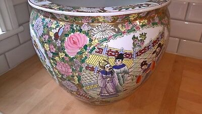 Large chinese fish bowl lovely colours solid heavy well painted item