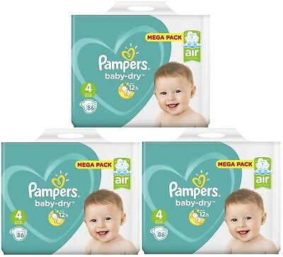 Lot 258 Couches Pampers baby-dry Taille 4 Maxi de 9 à 14kg Mega Pack
