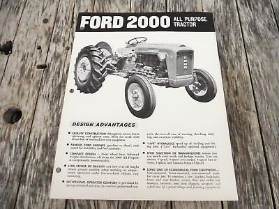 Vintage Ford 2000 All Purpose Tractor Brochure! Nice Nr Auction!