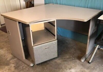 Corner Computer Desk And Matching Filing Cabinet - Business Office Furniture