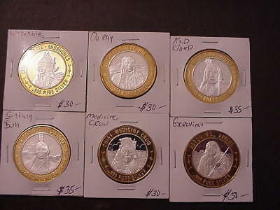 Six (6) Gaming Token Complete Set .999 Silver Limited Native American Series