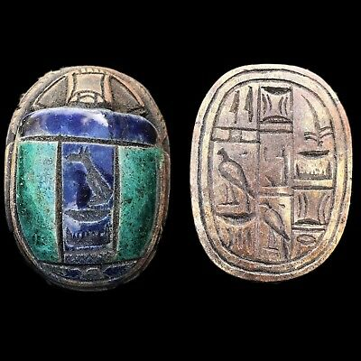Rare Ancient Egyptian Authentic Carved Glazed Scarab Bead Seal 300 B.c. (2)
