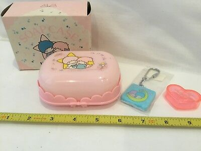 Vintage Sanrio 1976 Twin Stars Soap Case with Soap, Key Holder, Mini Heart Box