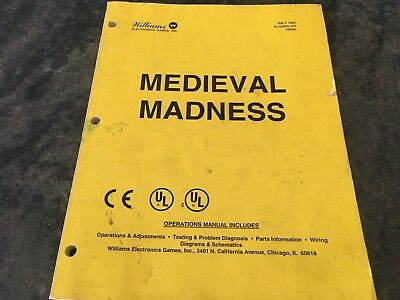 Arcade Game, Williams Pinball Medieval Madness Operations Manual 1997