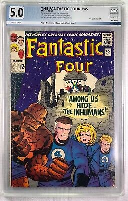FANTASTIC FOUR #45 Dec 1965 THE INHUMANS 1st APPEARANCE  - Graded PGX 5.0 VG/FN