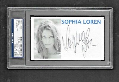 Sophia Loren Signed Authentic Autographed Index Card Slabbed PSA/DNA #84070820