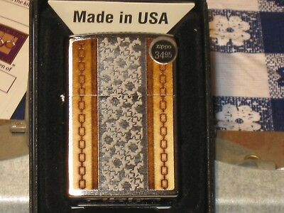 New USA Zippo Windproof Flame Lighter 34501 Chains & Pattern Brushed Chrome Case