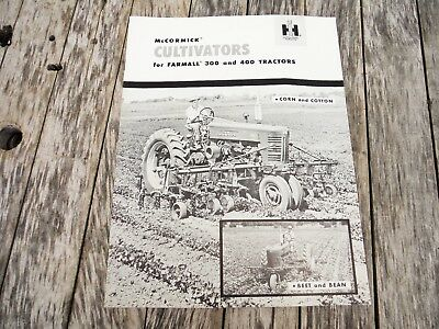 Vintage Ih Farmall Mccormick Cultivator For 300 And 400 Tractors Brochure