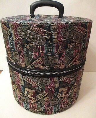 Vintage Munro Wig Hat Tote Carrying Case Tapestry Travel Airline EUC!