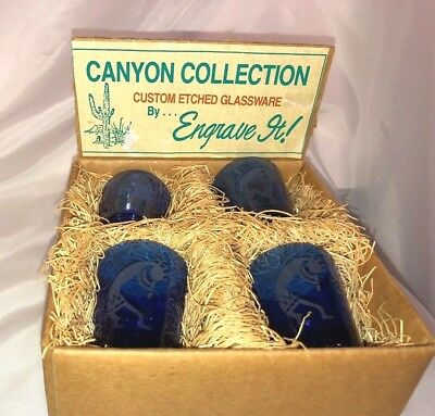 Kokopelli Shot Glasses,4,Cobalt Blue,etched,set boxed in straw,30+ years old