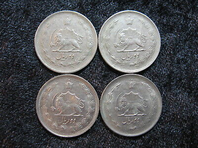 "4 old world coin lot IRAN 2 rials 1347/1968 ""radiant lion with sword"" FREE S&H"