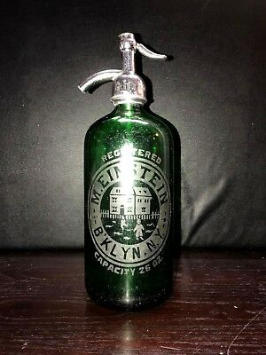 Gorgeous Green M.einstein  Antique  Seltzer Bottles From Brooklyn Ny With Childs