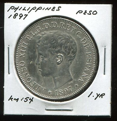 ** Philippines Spanish 1897 (One Yr Type) Silver Peso **