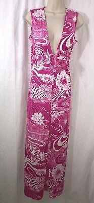 Vtg 60's Peter Pan Swimwear Cover Up Maxi Groovy Girl Print Large