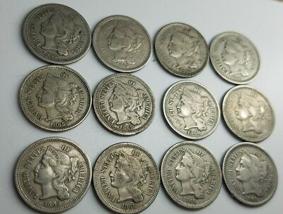 (12 pc) LOT OF CIRCULATED 1865 THREE CENT NICKEL PIECES  3cN