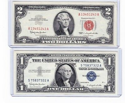 1953 or 1963 $2 Dollar Red Seal Note & 1 1957 silver certificate lot of 1 each