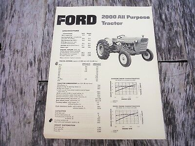 Vintage Ford 2000 All Purpose Tractor Brochure  Nice! Nr! Auction!